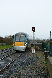 22003 leads the 08:55 Drogheda to Dublin Pearse into Balbriggan, Monday, 09/04/12