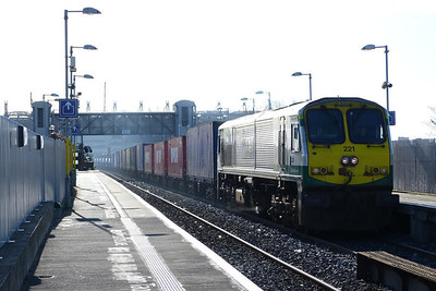 221 leads the IWT liner through Drumcondra on the morning North Wall to Ballina service. Wednesday, 11/04/12