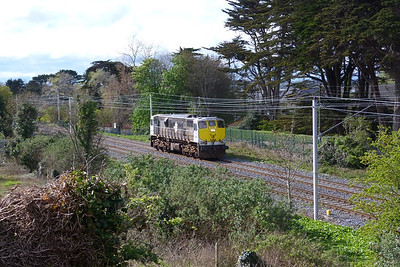 Over the Easter weekend some signalling upgrades were carried out on the Howth Branch. The normal DART services were suspended and on Monday afternoon a  number of test runs were conducted to finalise the equipment before the resumption of services on the Tuesday morning. The unusual sight of 076 is seen here passing Claremount Road near Howth, Monday, 09/04/12