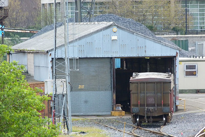 The small wagon workshop at North Wall with two Tara wagons outside. Wednesday, 11/04/12