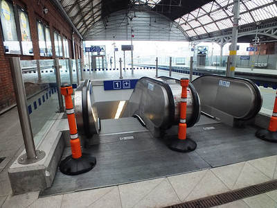 New escalator onto platform Pearse Station 13 April 2013