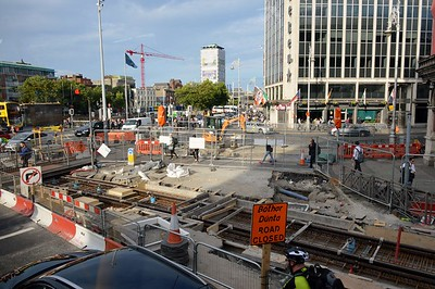 Luas XC works O'Connell Bridge 29 August 2016