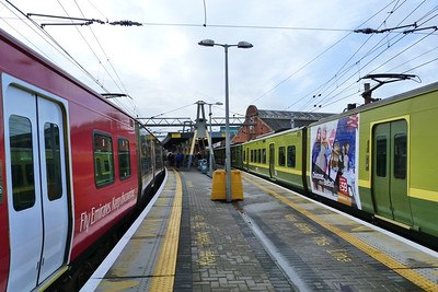 Two of the advertising sets together at Dublin Connolly, Thursday, 08/12/11