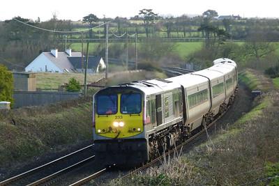 233 leads the 13:20 Dublin Connolly to Belfast Central Enterprise service through Gormanston, Wednesday, 07/12/11