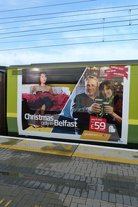 The Emirates set is not the only one to gain advertisements. Three other 8500s have been adorned with smaller ads on the inner ends. 8526 is seen here advertising Belfast. Connolly, Thursday, 08/12/11
