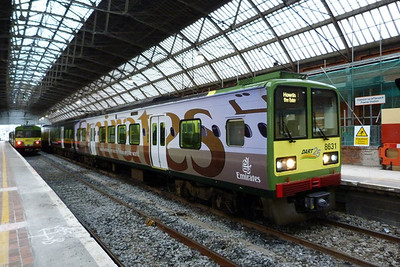 8631 in the Emirates all-over-ad livery. This is one of eight carriages so covered. Dublin Pearse, Sunday 04/12/11
