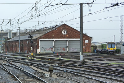 The closed shed at Dublin Connolly with 29025 on the turntable siding. Thursday, 08/12/11