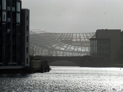 View of Aviva Stadium from North Wall Quay 18 December 2013
