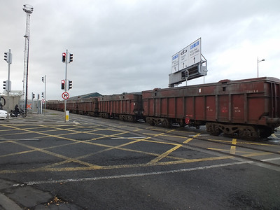 Train crosses East Wall Road 18 December 2013