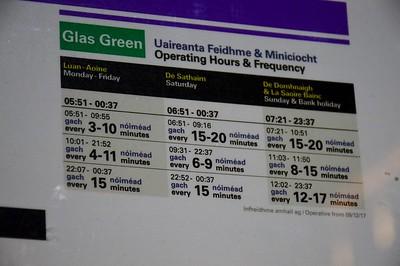 Luas timetable Trinity 8 December 2017