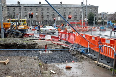 Luas XC works Hawkins St 25 February 2017