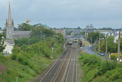 Two trains meet in the station at Balbriggan, Thursday, 07/07/11