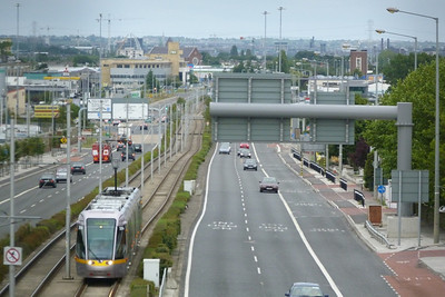 Looking down the Naas Road and 3004 is seen approaching with a Tallaght service. Tuesday, 19/07/11