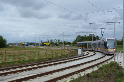 3017 arrives into Fortunestown as two buses pass in the background, Tuesday, 19/07/11