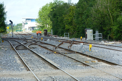The junction at Clonsilla. The line to M3 Parkway continues straight on, with the closed station at Hansfield visible, and the line to Maynooth curving to the right. Thursday, 12/07/12