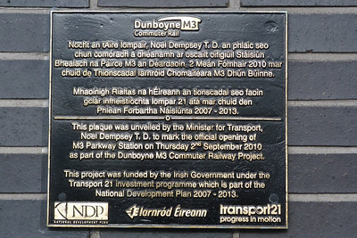 Plaque to mark the opening of the line and station at M3 Parkway,  Tuesday, 07/06/11