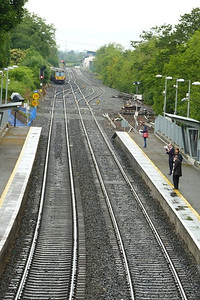 The 29000 turns left down the line to Maynooth and Sligo while straight on is the line to M3 Parkway. The unopened station at Hansfield is partially visible in the distance. Clonsilla, Tuesday, 07/06/11