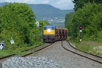 NIR's 8113 arrives with a ballast rake from the North. Dundalk, Wednesday, 20/06/12