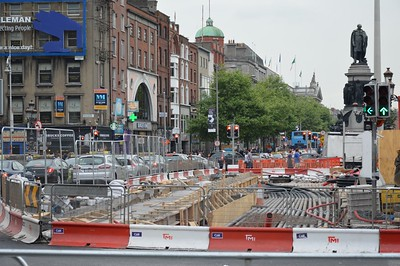 Luas XC works on O'Connell Bridge 9 June 2016