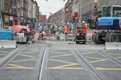 Luas XC works  O'Connell St looking up Abbey St 9 June 2016