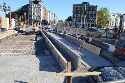 Luas XC works, track base O'Connell Bridge 2 June 2016