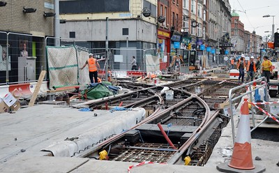 Luas XC works  Abbey St to Marlborough St link 9 June 2016