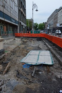 Luas XC footpath works on Dawson St 9 June 2016