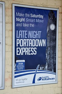 Late Night Portadown Express notice at Lisburn 3 June 2019