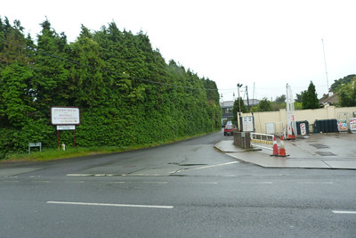 Looking towards Station Road. The original station building can be glimpsed in the middle of the shot, but a modern extension was built on the front of it which blocks the original facade. Shankill. Thursday, 05/07/12