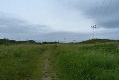 This is looking north along the former route at Bray, with the current route visible on the left. Thursday, 05/07/12