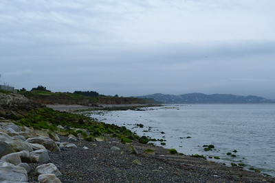 This is the view from the back of Bray pier and is not merely one of the coast. From when the line opened to Bray in 1854 until 1915, the route was along the section that is now the cliffs. In 1915, the line was moved inland and is still in use today. Thursday, 05/07/12