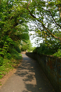 Looking along the footpath back towards the former bridge and the station at Howth.