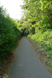Looking along the former route heading towards the summit. The path follows the back of some buildings along here.
