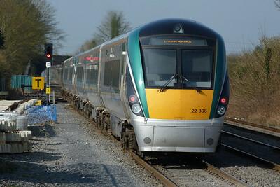 22008 on the 09:15 Dublin Heuston to Portlaoise. Kildare, Friday, 25/03/11