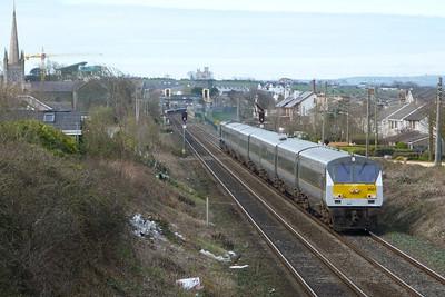 9001 on the 12:35 Belfast Central to Dublin Connolly. Balbriggan, Tuesday, 22/03/11