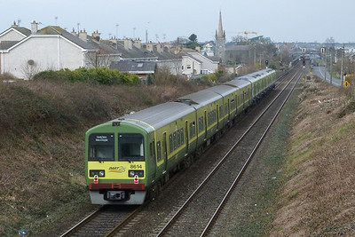 8614/13 being hauled to Drogheda by 29001. Balbriggan, Tuesday 08/03/11