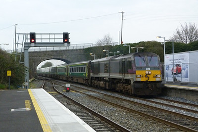 Enterprise loco, 230, passes through with the 11:00 Dublin Heuston to Cork. Kildare, Friday, 23/03/12