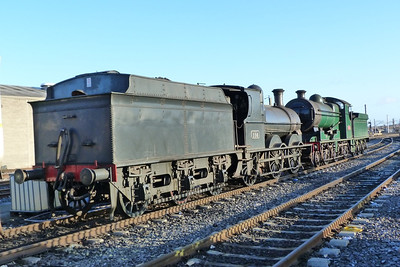 In the early morning sun, steam locos 186 and 461 are seen in the yard at Dublin Connolly. Wednesday, 07/03/12