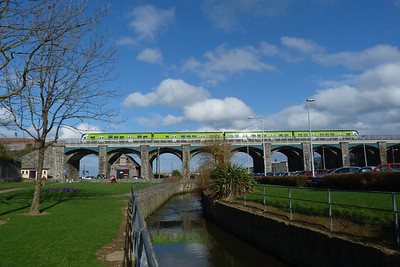 A 29000 crosses the viaduct over the park and harbour in Balbriggan, Thursday 01/03/12