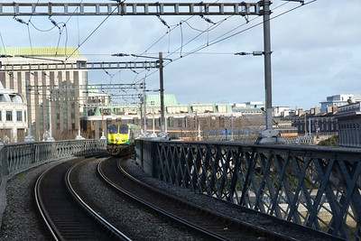 222 leads the RPSI Craven set across the loop line bridge on an ECS movement from Dublin Connolly to Dublin Pearse. Tara Street, Saturday 03/03/12
