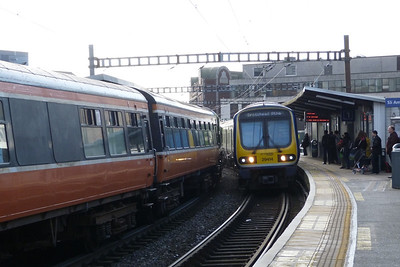 The old meet the new: the Cravens once a common sight on the Northern Line on the left passing 29414, the new order on Northern Line services. Well, at eight years old, relatively new...Tara Street, Saturday 03/03/12