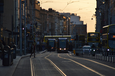 Luas in evening sunlight, Abbey St 14 March 2014