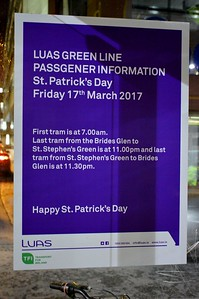 St Patricks day notice St Stephens Green  16 March 2017