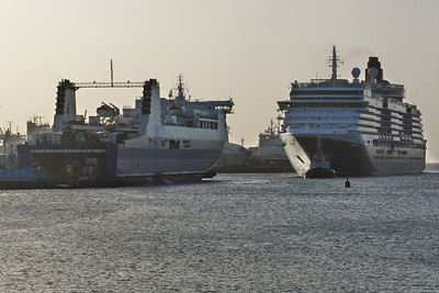The two ships showing a size comparison. Dublin Port, Tuesday, 24/05/11