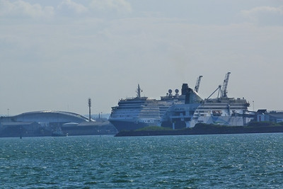 Queen Victoria emerges on her way to Cobh, passing the Aviva stadium and the Ulysses, Dublin Port, Tuesday, 24/05/11