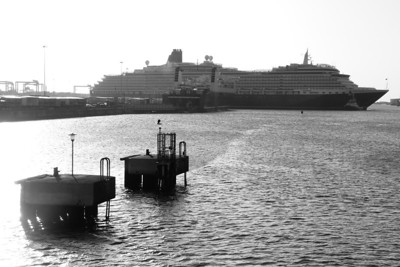 Another black and white showing how it dwarfs the Ro-Ro ferry, Dublin Port, Tuesday, 24/05/11