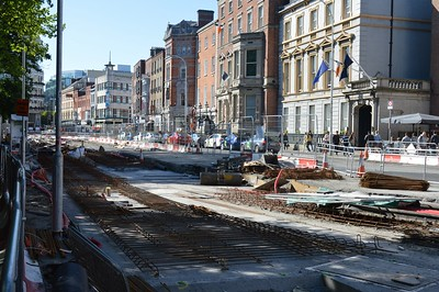 St Stephens Green Luas works 14 May 2016 Turnback siding going into position.