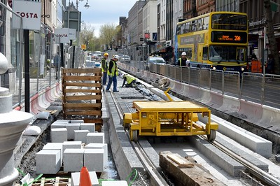 Dawson St Luas XC track works & trolley 4 April 2016