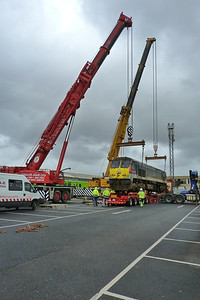 The 112-ton 233 is nearly settled on the low loader, Connolly, Wednesday, 02/11/11