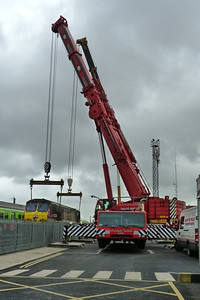 The two cranes in place, and were now taking the weight of the loco off the bogies, Connolly, Wednesday, 02/11/11